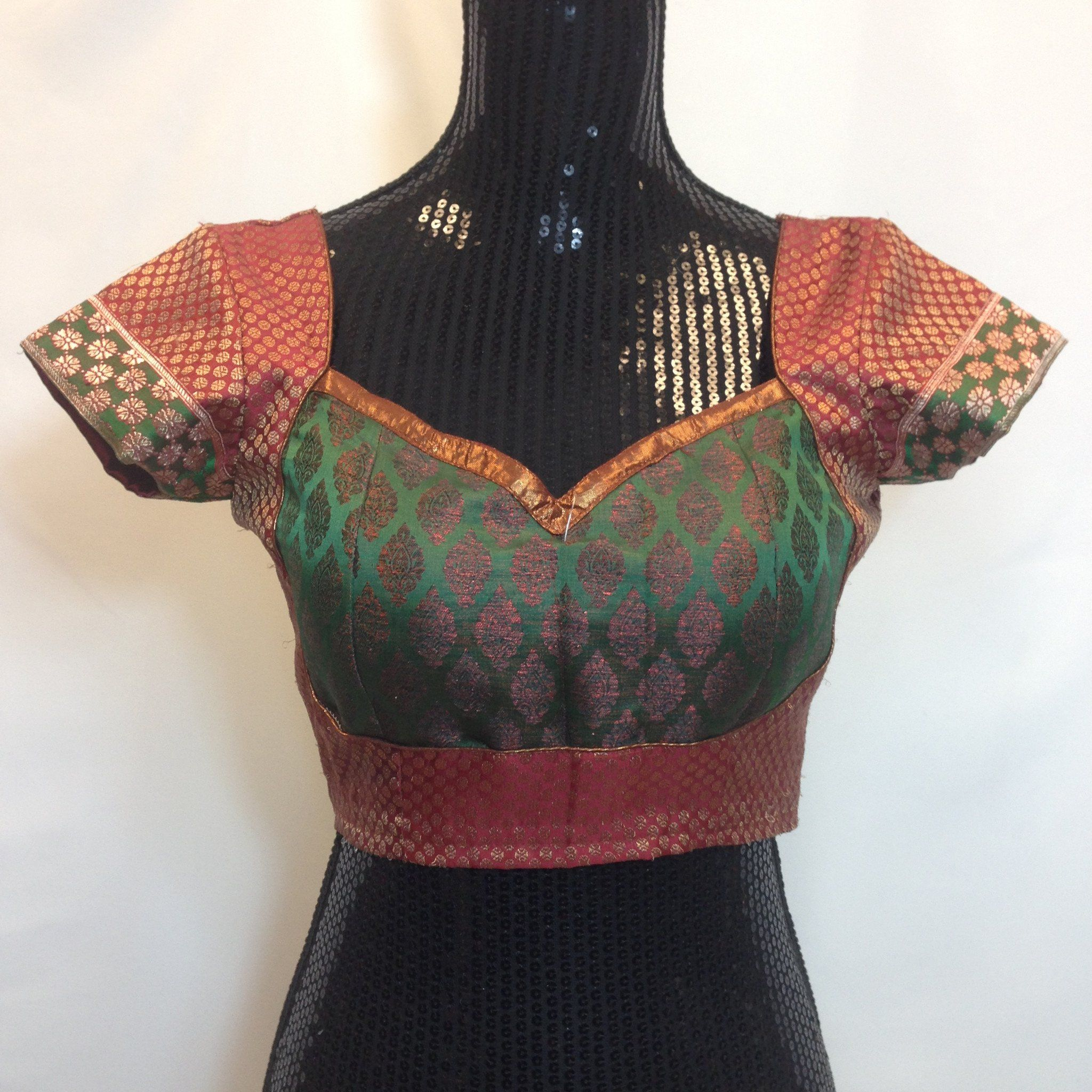 Partywear brocade blouse maroon and green pure silk cap and stylish