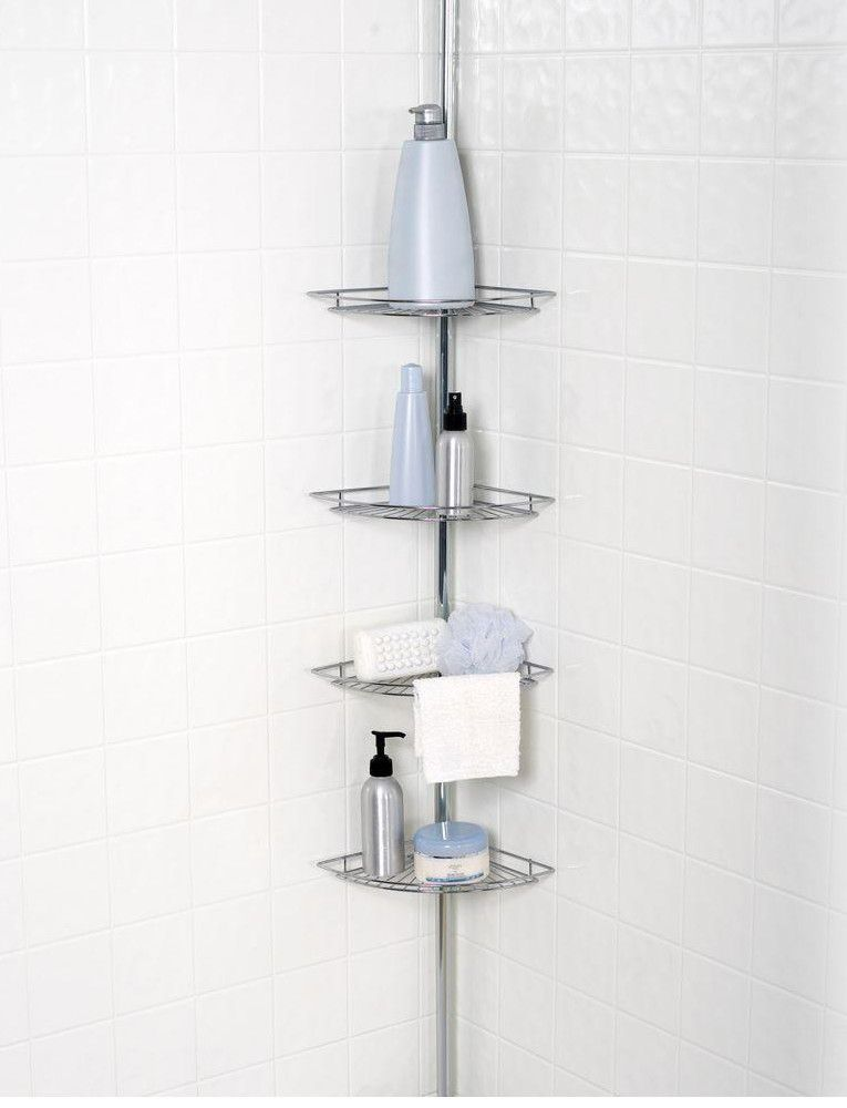 Tension Pole Corner Shower Caddy 4 tier tension pole corner shower caddy | products | pinterest