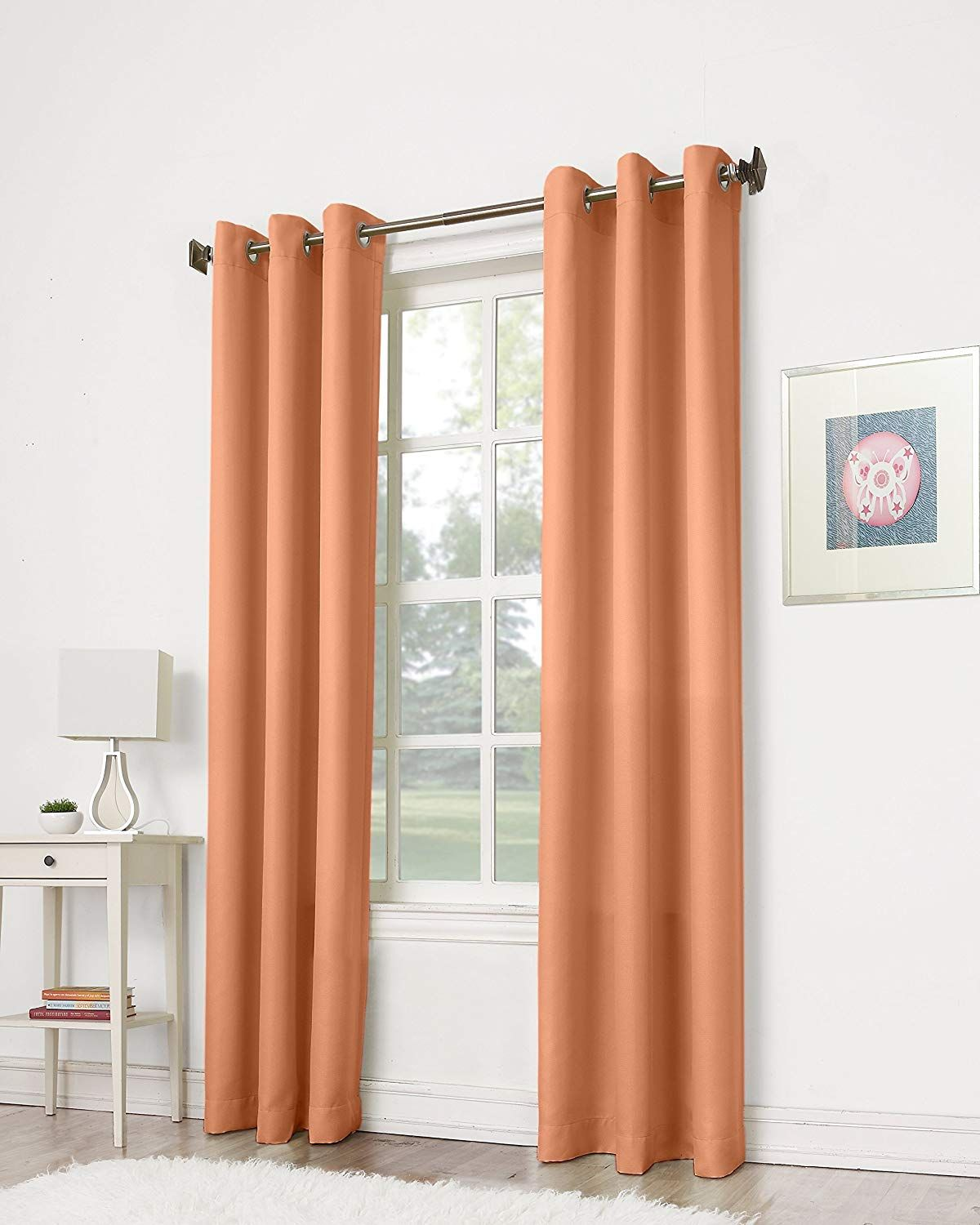 Montego Casual Textured Grommet Curtain Panel Cantaloupe Orange Curtains Panel Curtains Orange Curtains