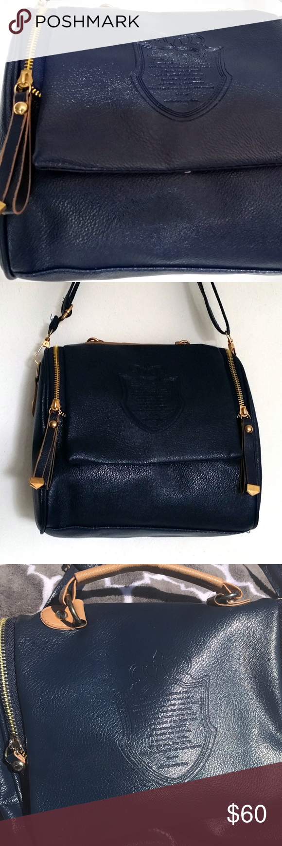 Cettu Leather Bag Made In Italy 3 Ways To Carry Navy Blue Pebbled