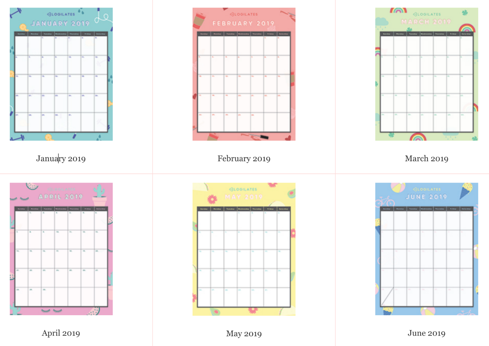 Blogilates Calendar February 2019 THE LEGIT CUTEST 2019 Printable Calendars! | Fitness | Blogilates