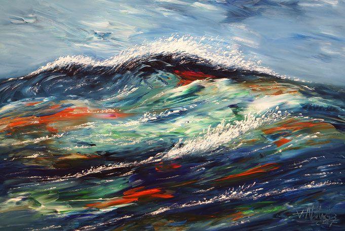 Ocean Waves M 1 maritim abstrahiertes Gemälde, blau, türkis, orange  130 cm Breite x 85 cm Höhe  moderne Kunst,  fertig auf einen Keilrahmen gespannt.