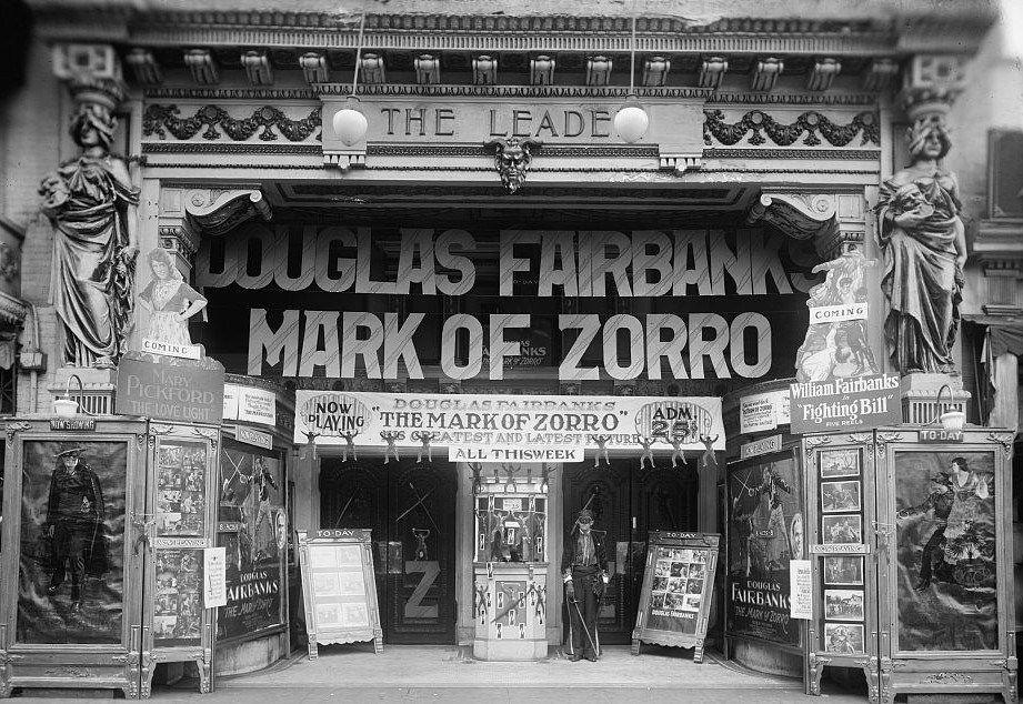 1920s movie theater Zorro, Movie marquee, Washington dc
