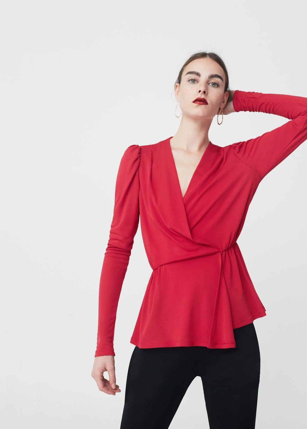 968191697e1709 Blusa cruzada - Mujer en 2019 | Outfits | Blusas cruzadas, Blusas y ...