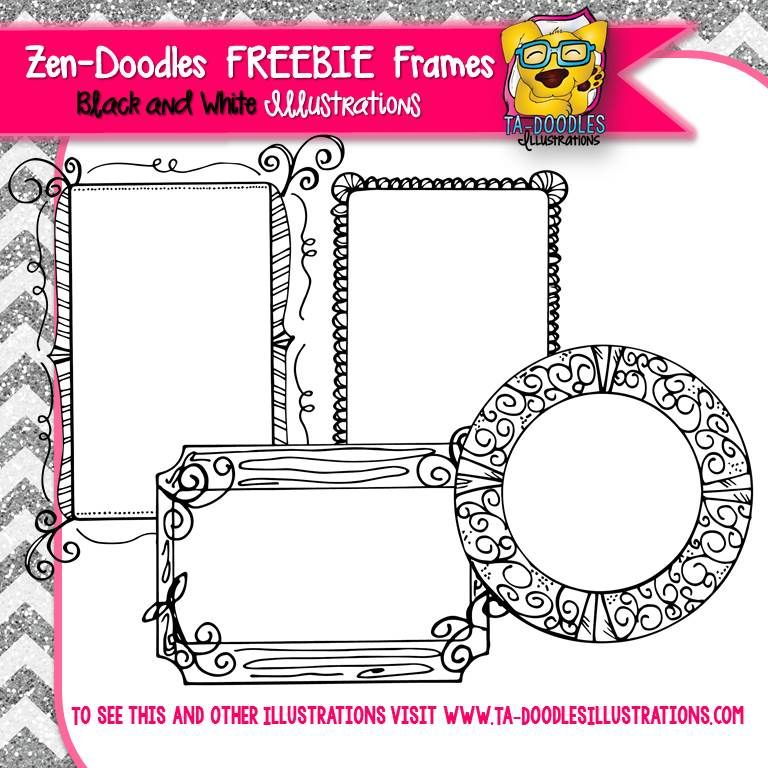 FREEBIE FRAMES Zen-Doodles Black and White Clipart | TpT FREE ...