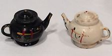 Vintage Retro Salt & Pepper Shaker Set Teapot Metal Japan Black White Kitchen