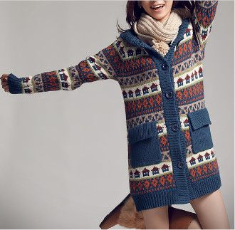 Women's Printed Hooded Cardigan with Inner Fur   #fashionfiend ...