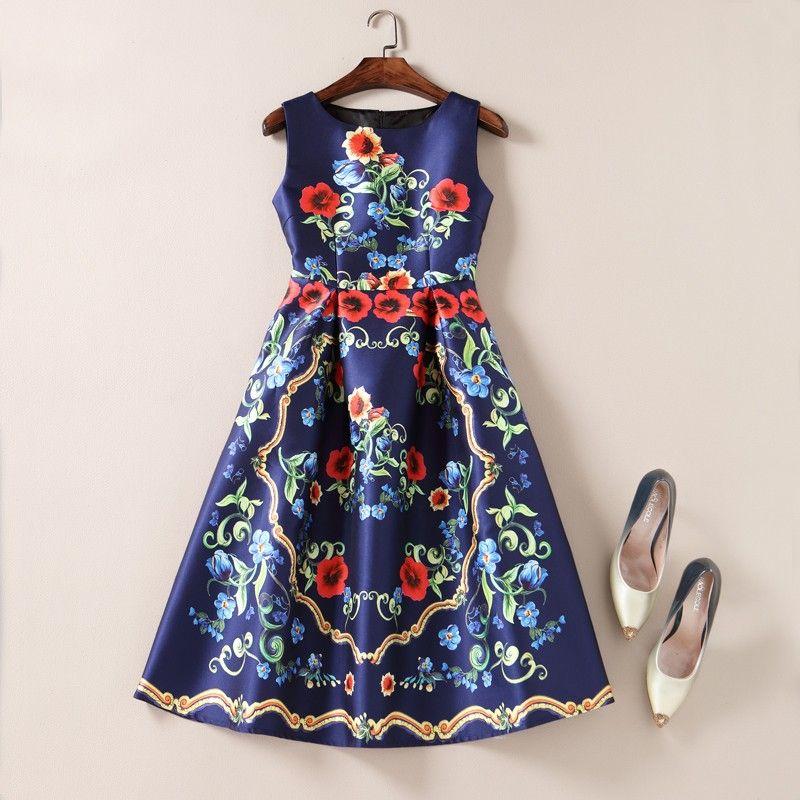 Elegant Sleeveless Floral Vintage Design Party Dress Print Chiffon Dress Floral Print Dress Summer Runway Dresses