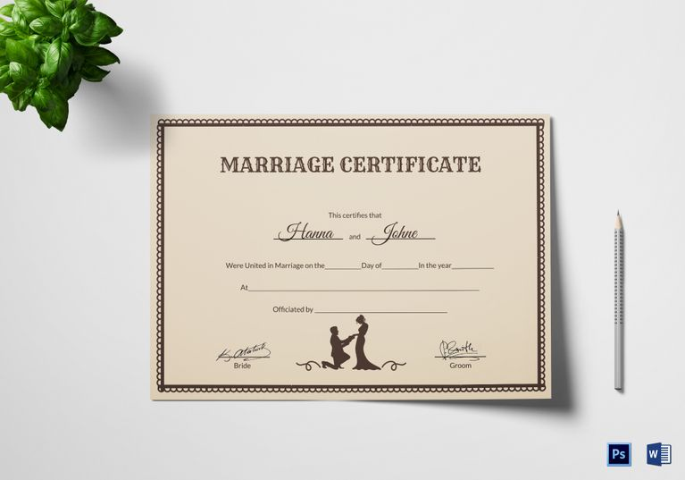 Vintage Marriage Certificate Template  Formats Included  Ms