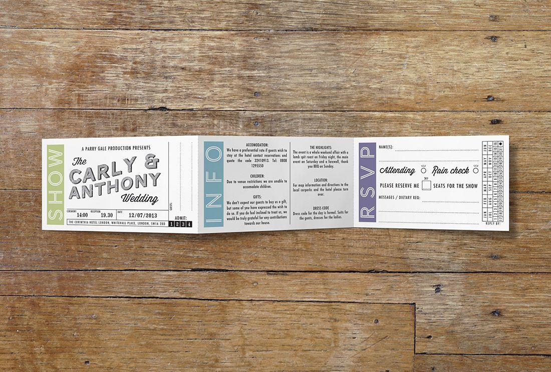 Movie ticket wedding invitation. A movie ticket inspired invitation ...