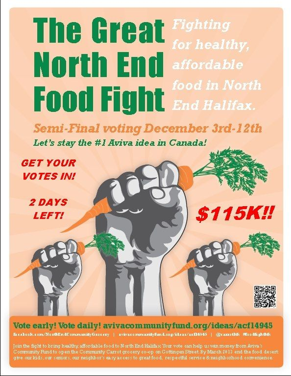 Fighting for healthy, affordable food in North End Halifax! It takes two seconds to vote, 're actually voting for someone's future!     http://www.avivacommunityfund.org/ideas/acf14945