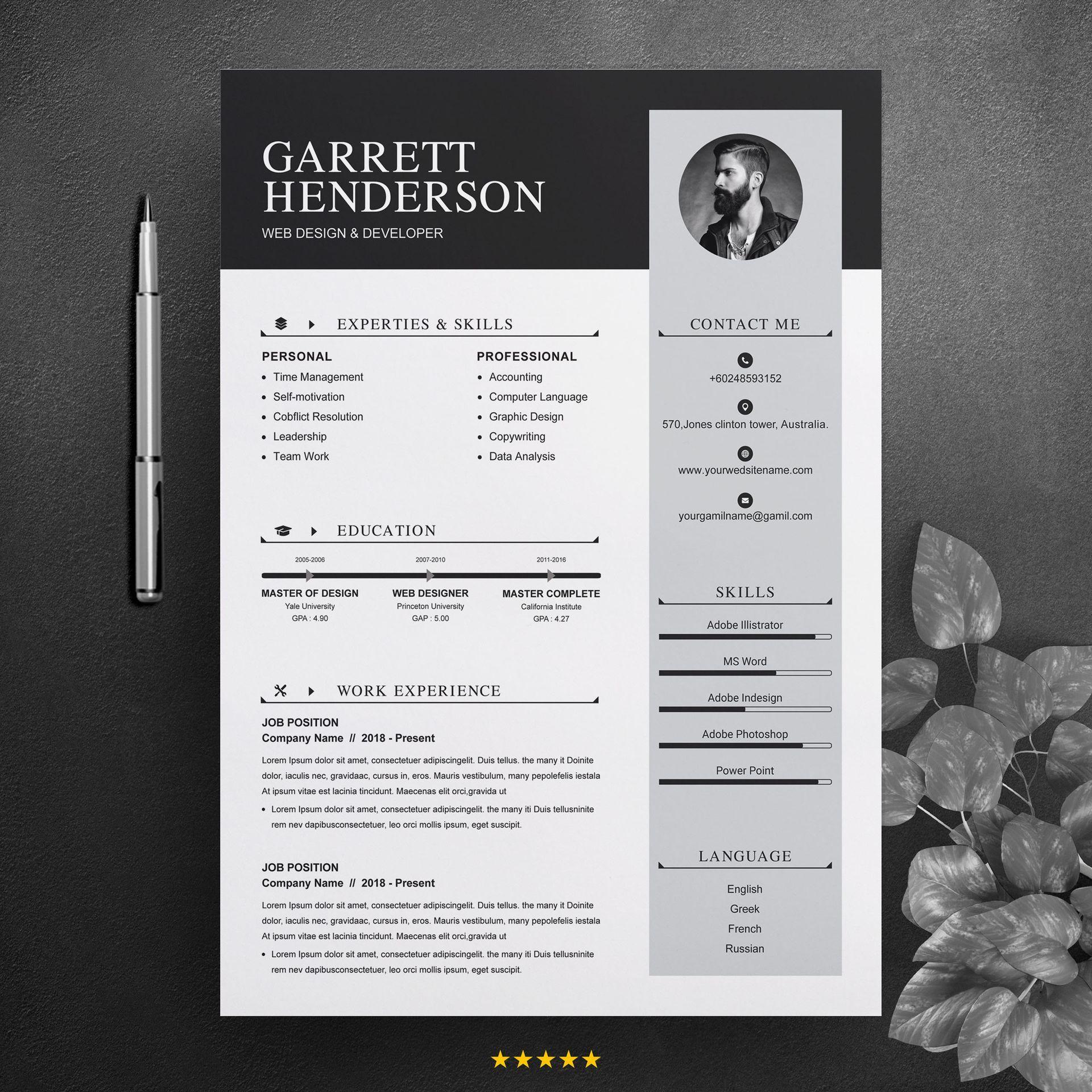 Garrett henderson resume template 74183 cv design