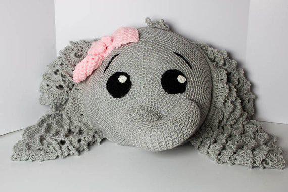 Crochet Elephant Pillow Baby Elephant Decor Elephant