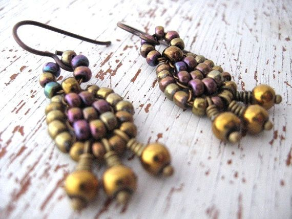 Wire Wrapped Earrings. Antique Gold  Seed Beads. Bohemian Earrings
