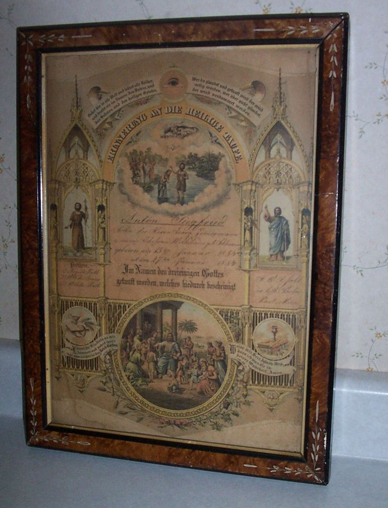 Framed German Baptism Certificate From Hart Mn Church