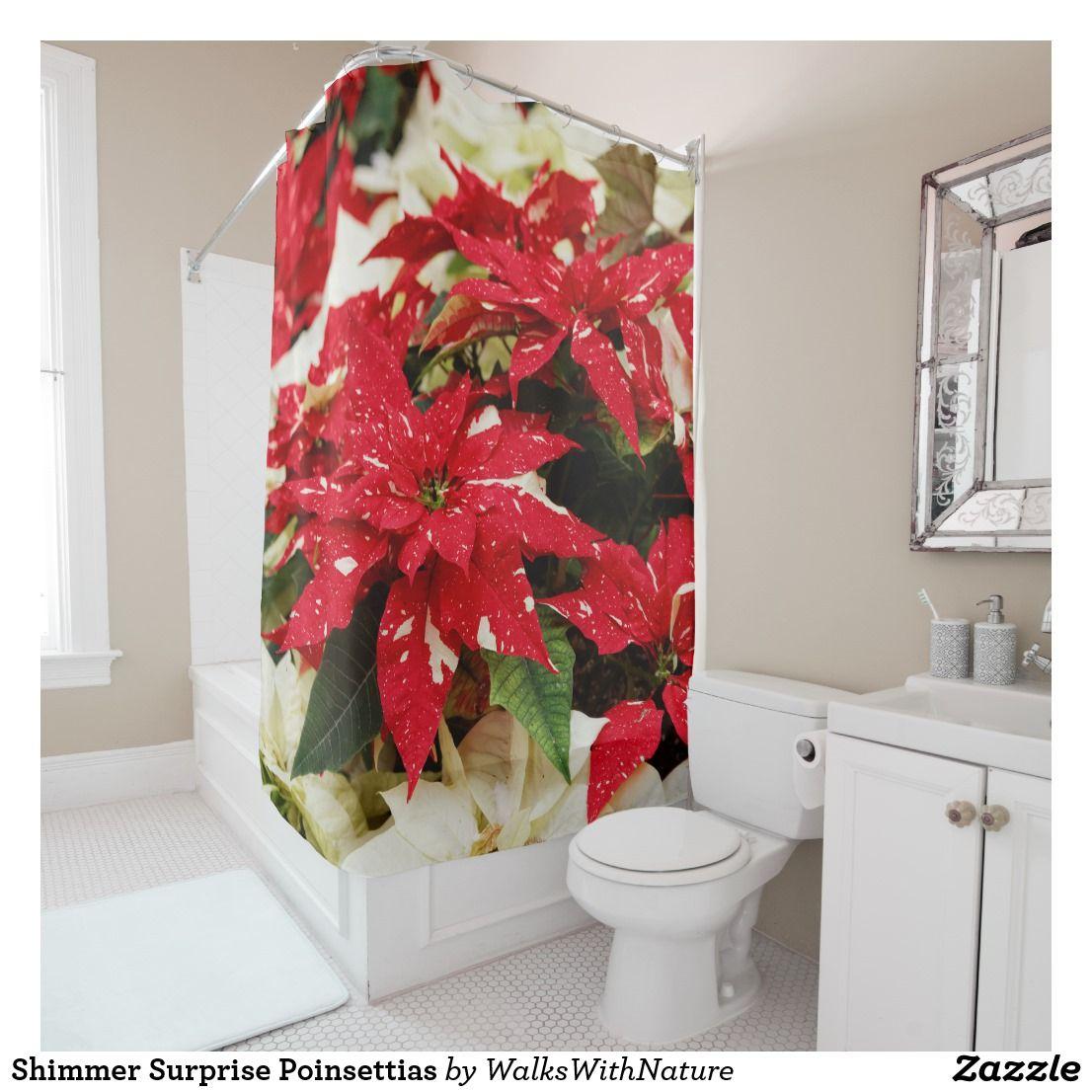 Attractive Shimmer Surprise Poinsettias Shower Curtain