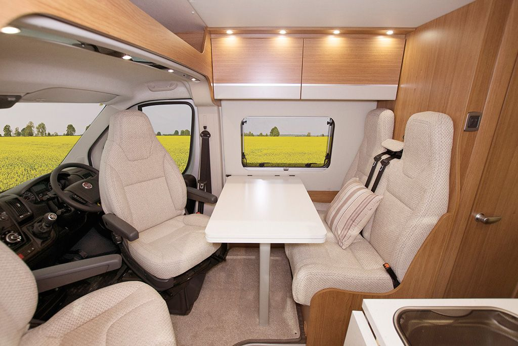 Luxury motorhome with rotating driver and passengers seats
