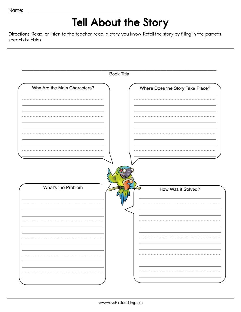 Tell About The Story Worksheet Story Elements Worksheet Reading Comprehension Worksheets Teaching Story Elements
