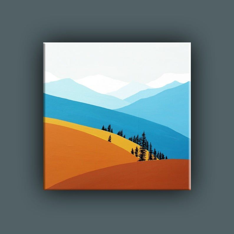 Original Painting Contemporary Art Large Acrylic Painting Landscape Painting Square Mountain In 2020 Simple Canvas Paintings Art Painting Modern Art Prints
