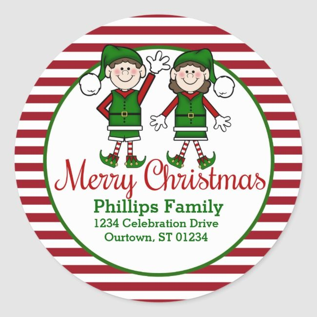 Cutie Christmas Elves Address Classic Round Sticker