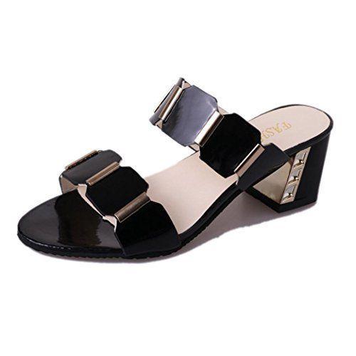5d47a88362cf2 Sandales Plates Chaussures Escarpins Tamaris,Femmes Pantoufle Talons Hauts  des Sandales Antiskid Toes Fête Chaussures Tongs,Noir Blanc  Il…