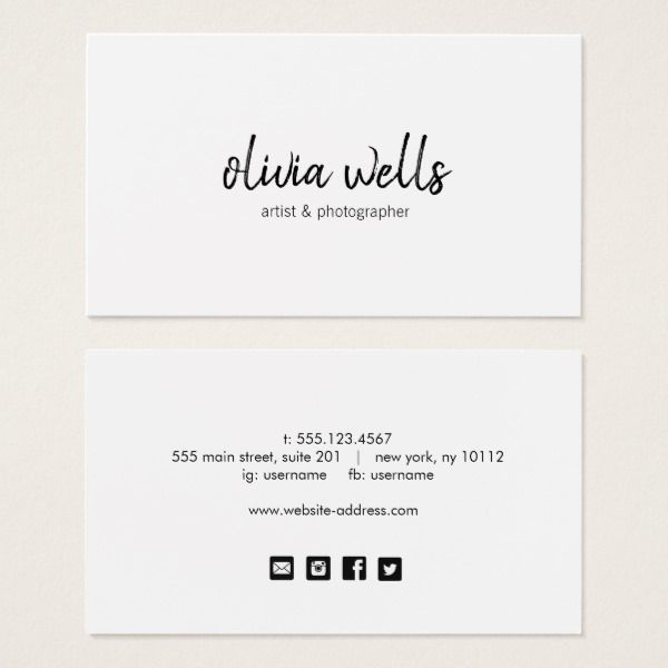 Simple White Handwritten Social Media Icons Business Card Business