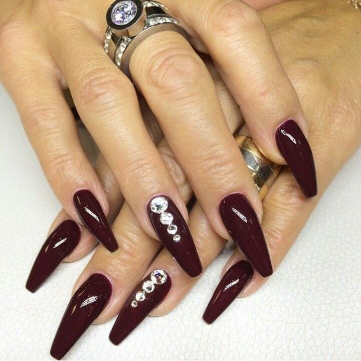 Wine Red Squoval Acrylic Nails w/ Rhinestones | Nails 2 ...