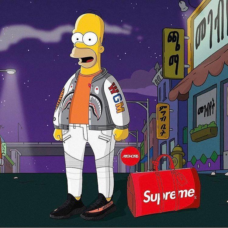 Homer swaggy Simpsons art, Supreme wallpaper, Cartoon art