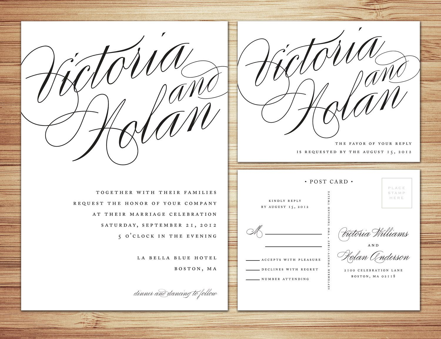 Wedding Invitations With Rsvp Postcards: Calligraphy Wedding Invitation & RSVP. I Love The Wording