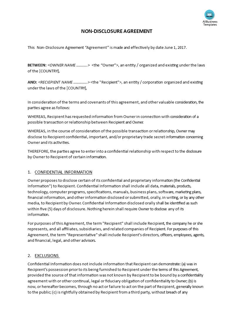 Non Disclosure Agreement Form Non Disclosure 13
