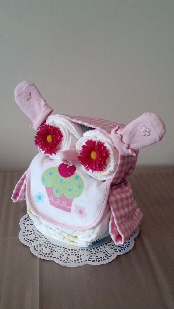 Cute Owl Diaper Cake Girl By Kuddlesbabykreations On Etsy 3850