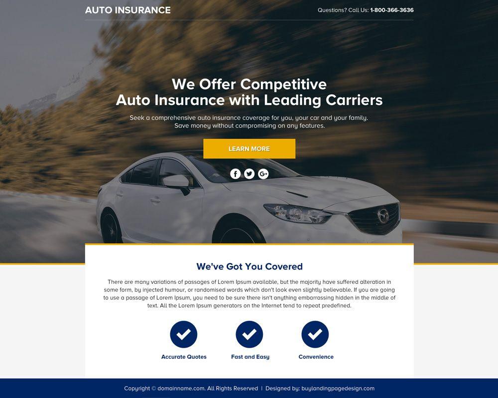 Auto Insurance Lead Funnel Landing Page Design Car Insurance