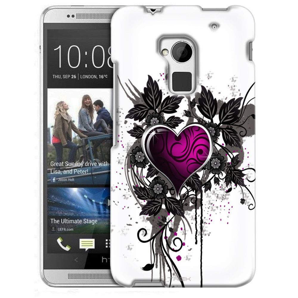 HTC One Max Highlighted Heart Pink on White Slim Case