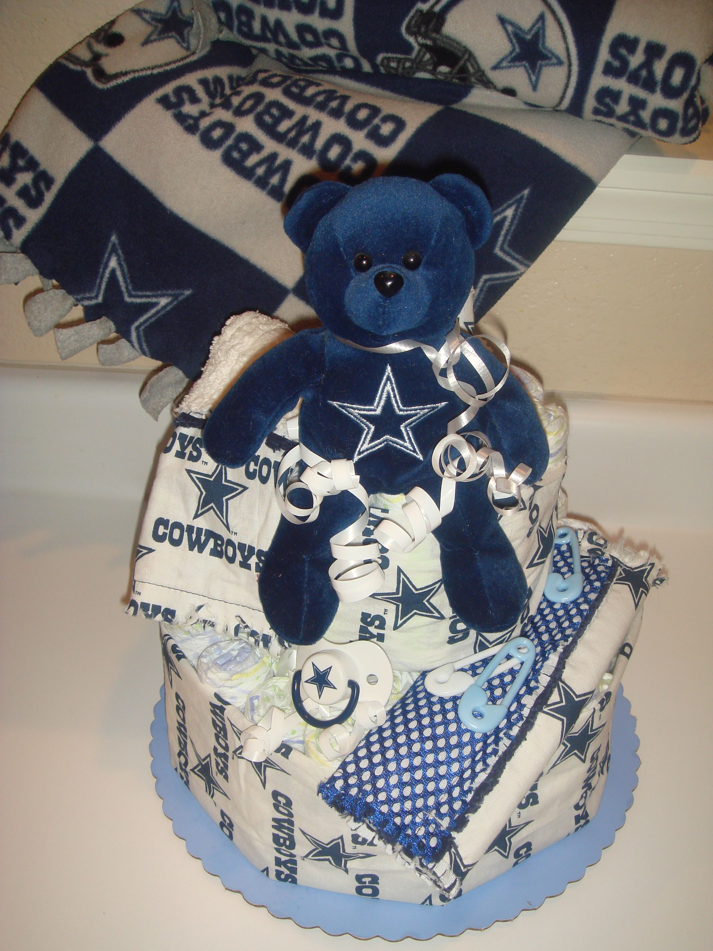 39fa064cf527 Diaper cake and tie blanket not with the Cowboys but SOONERS/DUKE/VIKINGS