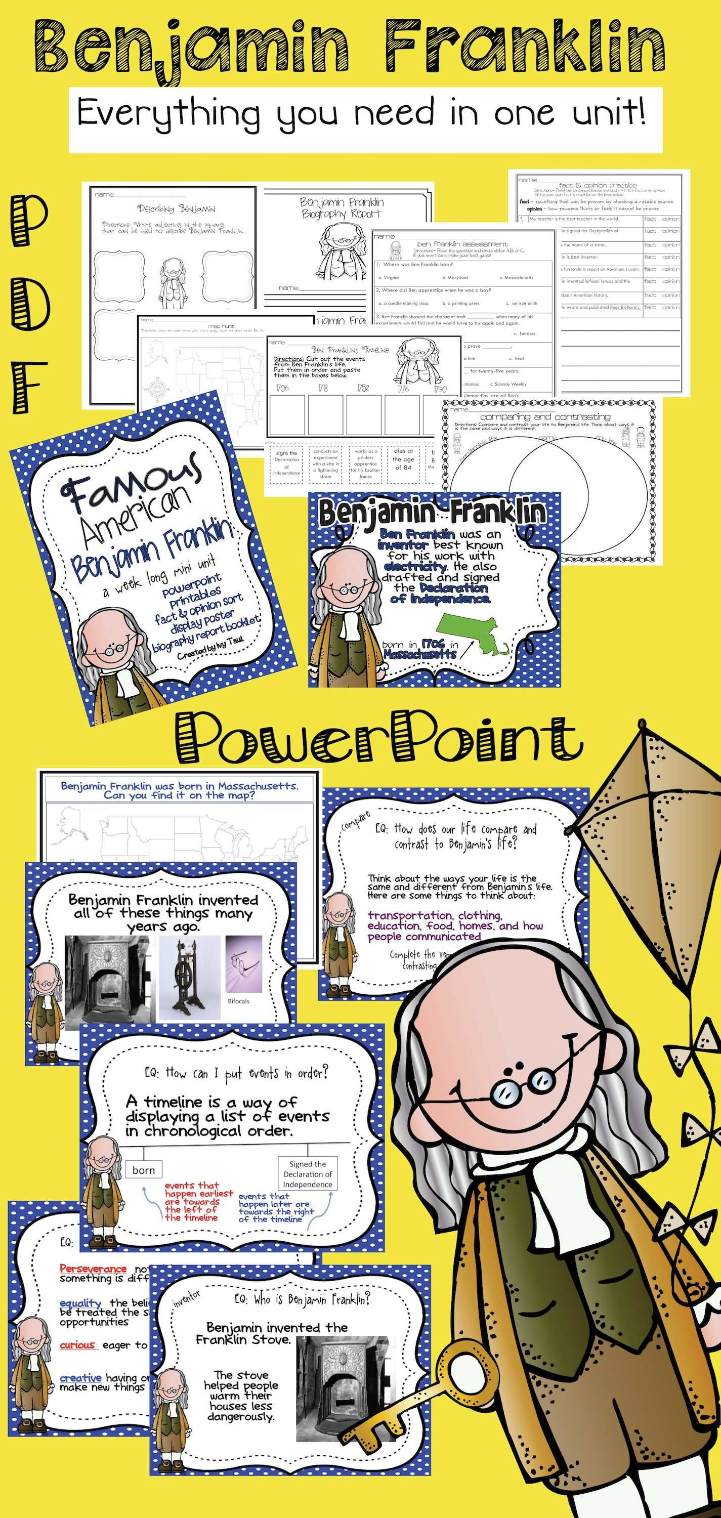 Benjamin Franklin Famous American Powerpoint Amp Printables