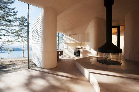 Love the soft sandcolored curves. Looks so inviting. Cabin Norderhov , Hønefoss, 2014 - Atelier Oslo