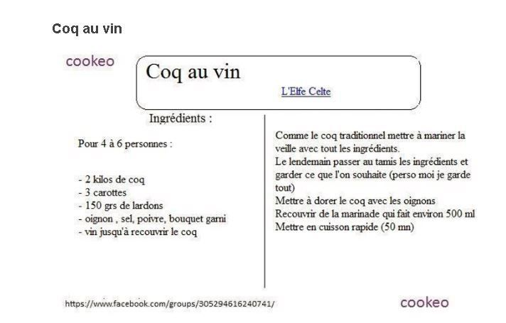 coq au vin 2 fiches recette cookeo cookeo pinterest coq fiches et vin. Black Bedroom Furniture Sets. Home Design Ideas