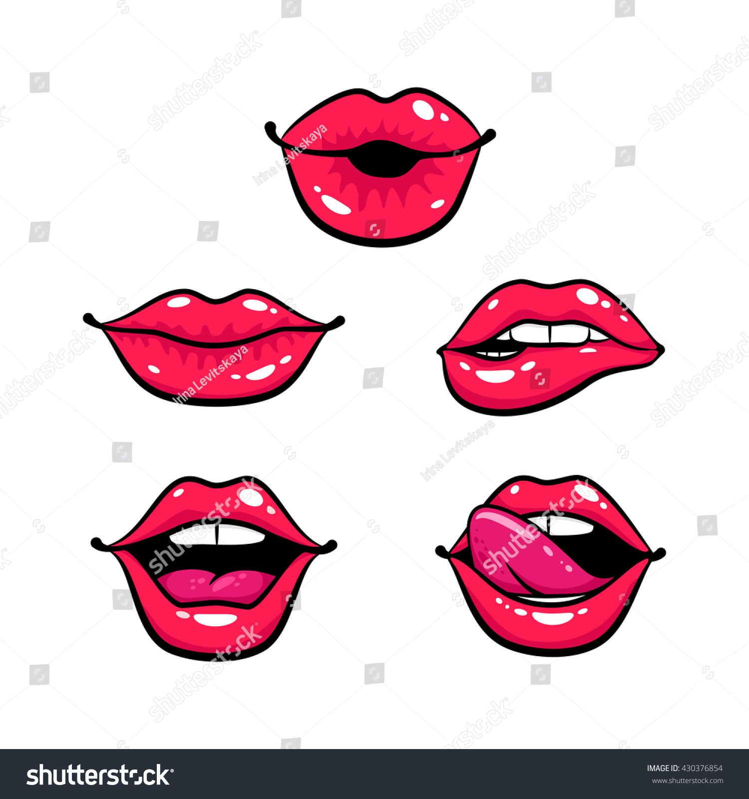 Female lips set. Mouth with a kiss, smile, tongue, teeth