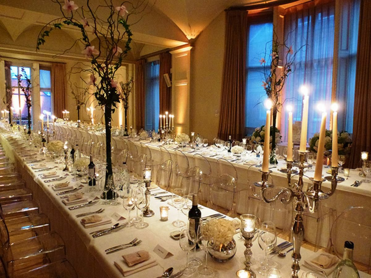 Long Tables Lit By Candle Light At Wedding Venue Kent House Knightsbridge