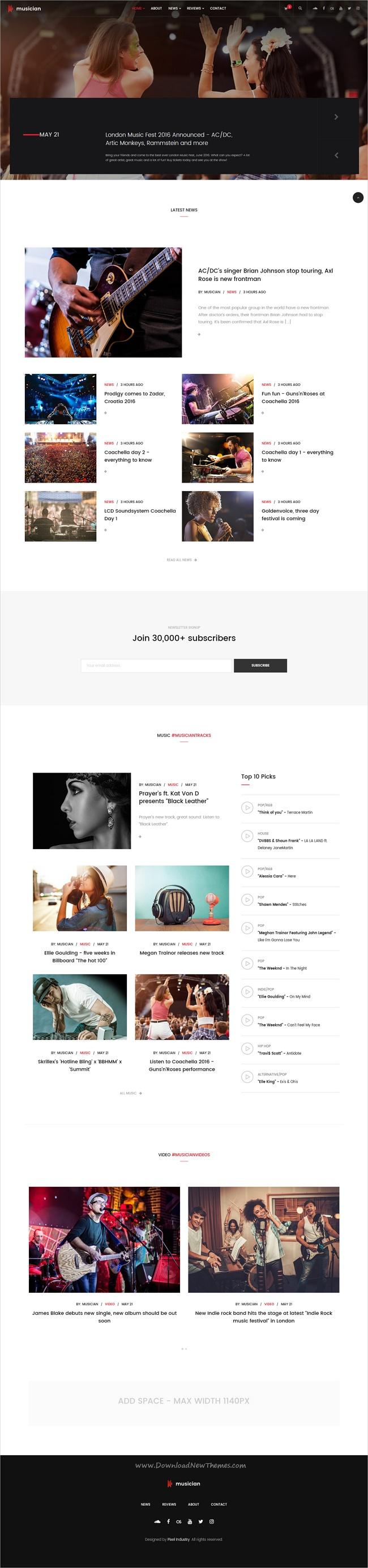 Musician - Music Band, Blog, Shop HTML Template