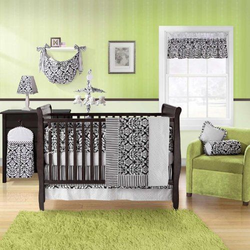 Nursery Green Black And White Crib Bedding Sets Baby