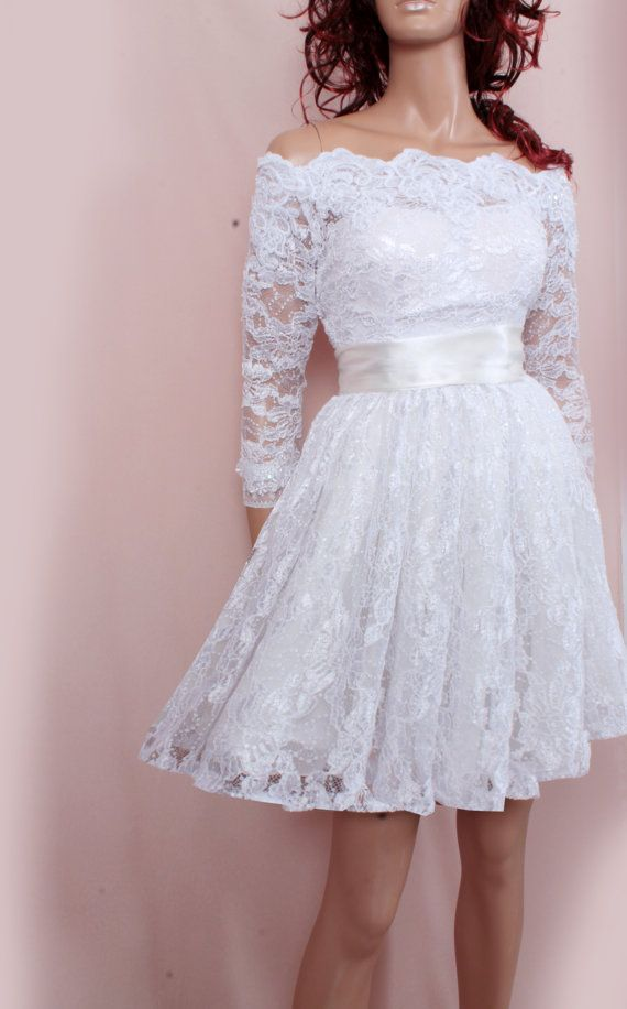 Lace short Plus Size/reception/ wedding dress /Off-Shoulder Custom ...