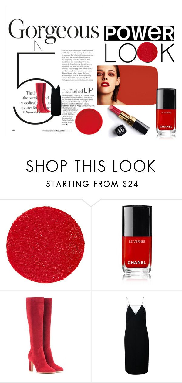 """POWER LOOK👠💄"" by humayum ❤ liked on Polyvore featuring Chanel, Lipstick Queen, Gianvito Rossi, Alexander Wang and powerlook"