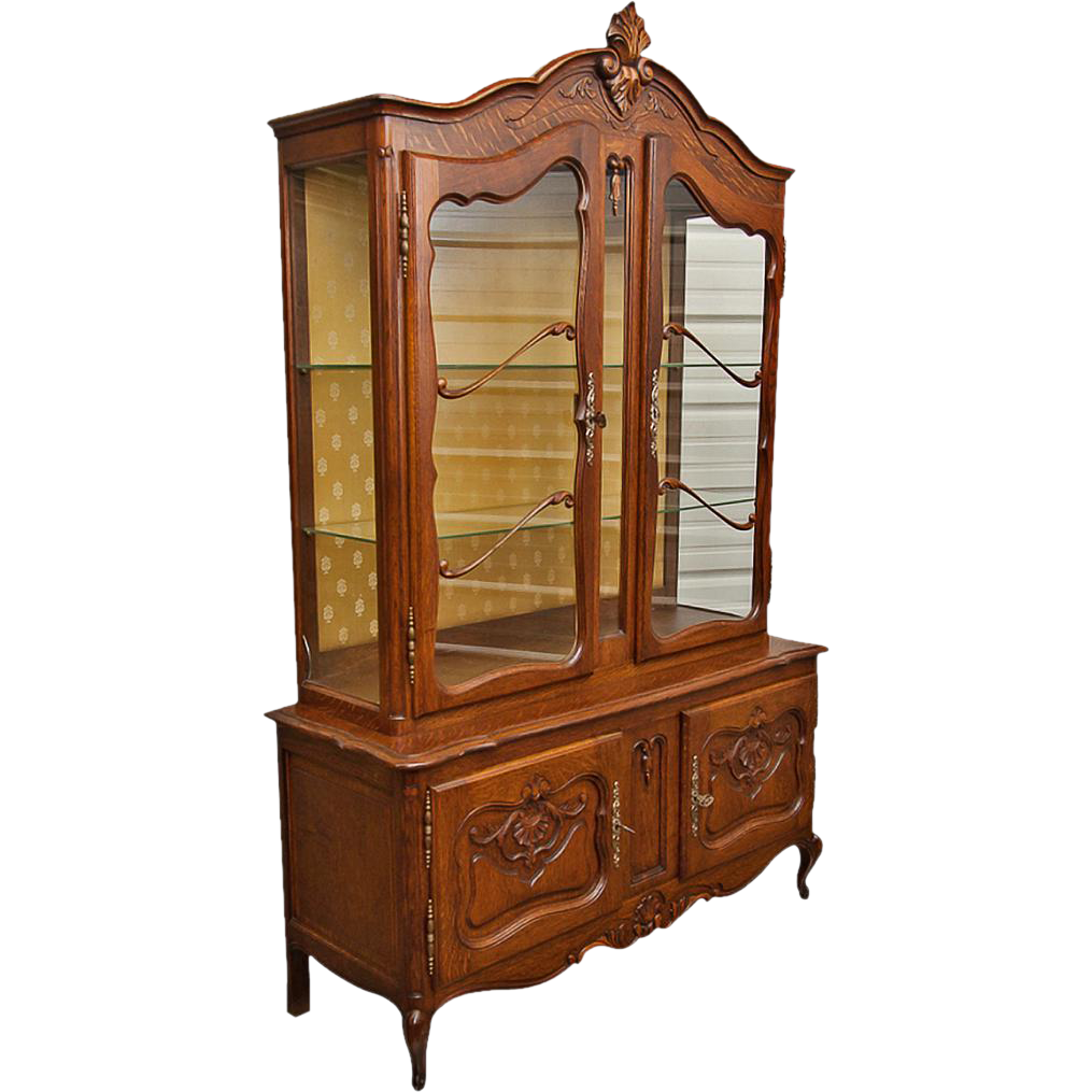 Attirant Vintage Louis XV Buffet China Cabinet From Maisondecorantiques On Ruby Lane  | Well Carved, Requires Glass Replacement
