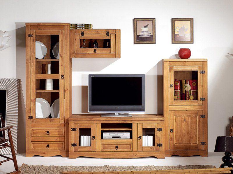 Modular r stico para tv compuesto por tres muebles for Muebles modulares living