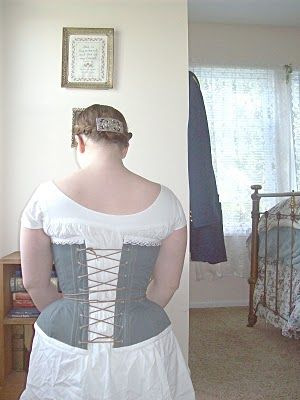 blue 1860's corset and hey days living history  flower