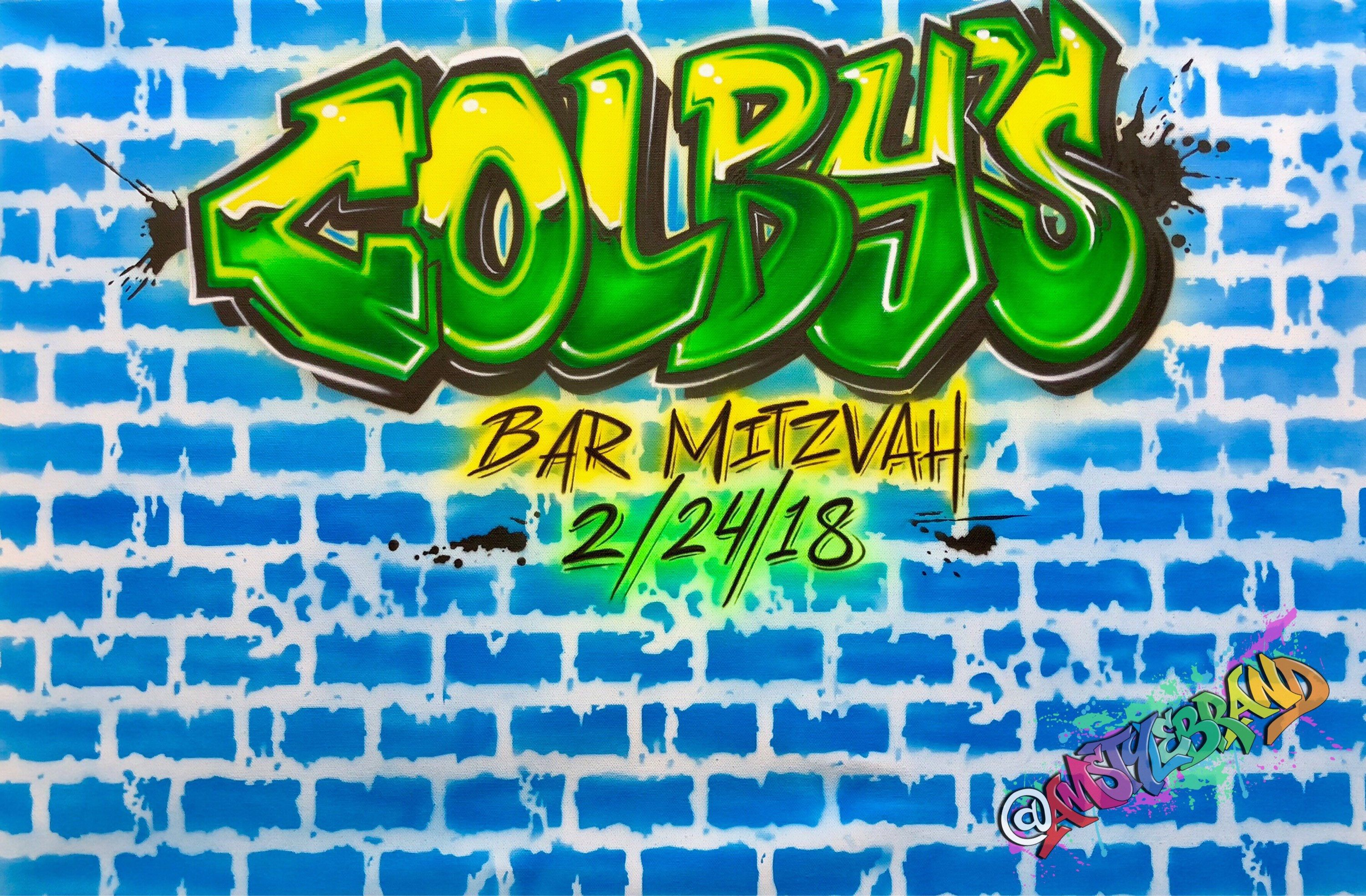 Excited To Share The Latest Addition My Etsy Airbrush Graffiti Wall Art Canvas Sign In Board 20x24 Bar Mitzvahs Bat Event Decor Room