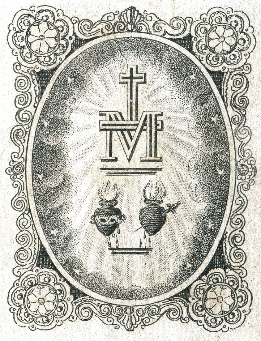 The Reverse Of A Print Of Our Lady Of The Miraculous Medal Showing
