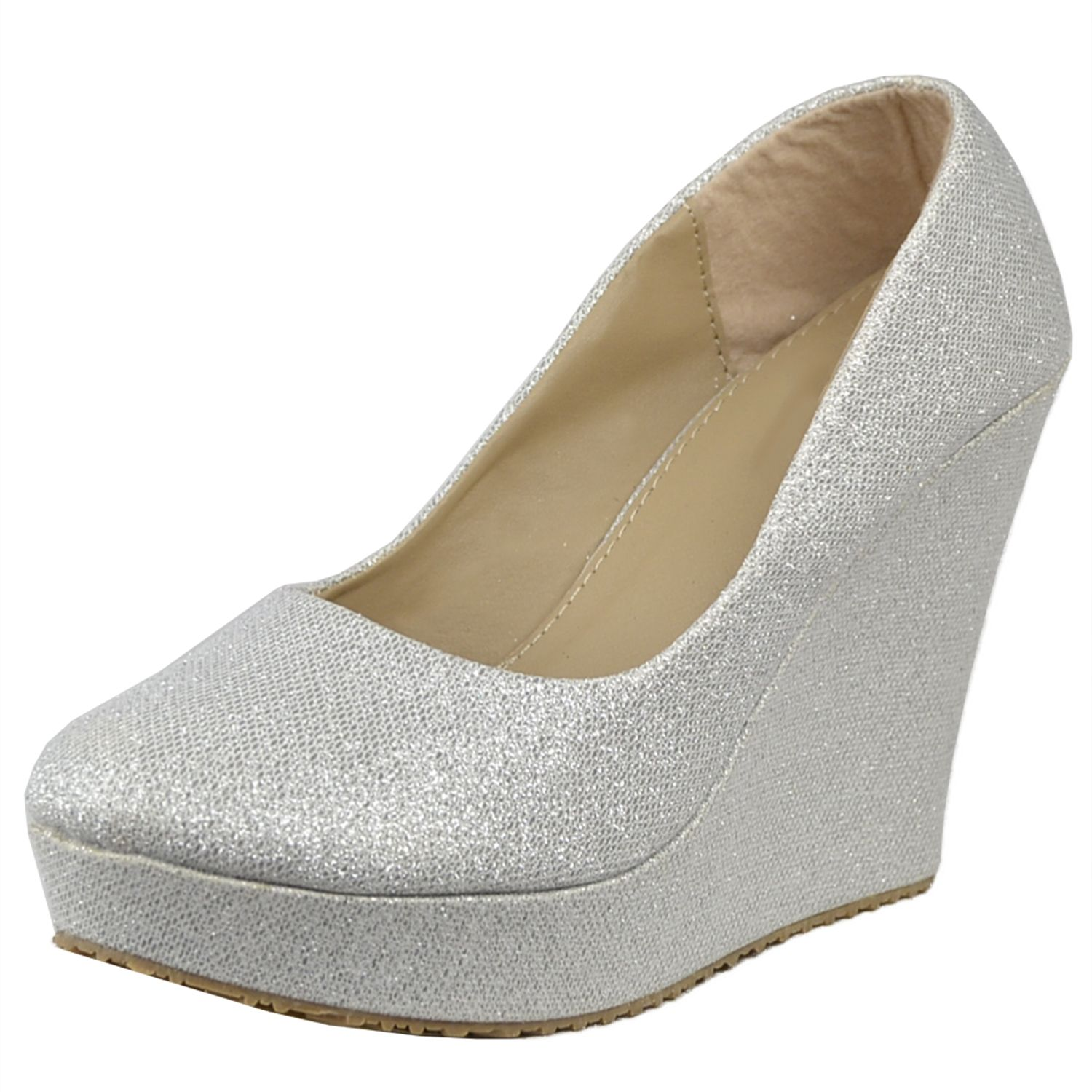 8fc266a3d534 Womens Platform Shoes Glitter Accent Closed Toe Slip On Wedges Silver