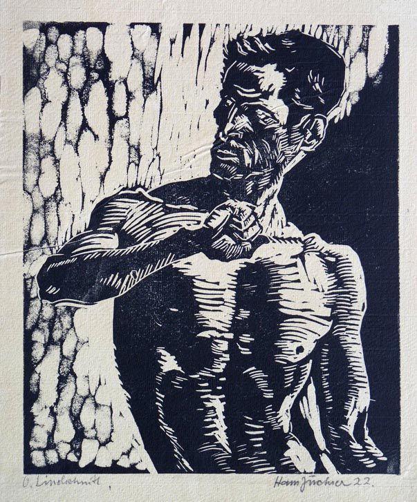 blastedheath:  Hans Jüchser (German, 1894-1977), Männliche Halbfigur, 1922. Linocut on laid paper, 24.3 x 20.2 (29.5 x 25.2) cm.
